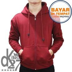 DK Jaket Polos Hoodie Zipper - Merah Marun