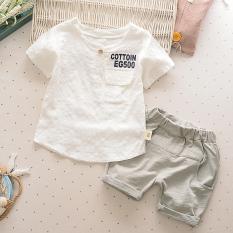 Gaya Korea Dari Katun Dan Linen Anak Baru Lengan Pendek Celana Pendek T-shirt (EG5 Putih)