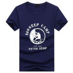 Berkualitas Baik Ukuran Besar S-5XL Climber Round Leher Lengan Pendek Pria Gemuk Wanita T Shirt (Biru)-Intl