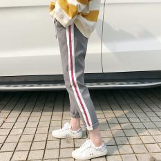 Celana Harem Wanita Aneka Warna Lurus/Jogger Gaya Sekolahan (Pita abu-abu) baju wanita celana wanita