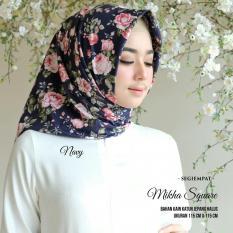 Kananta Hijab SegiEmpat Motif / Jilbab SegiEmpat Motif Bunga / Kerudung SegiEmpat Motif Bunga  / Square K-Mikha / Bahan Kain Katun Jepang Halus