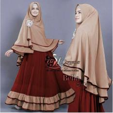 LF Baju Gamis / Dress Muslim Syari / Gamis Lebaran (LLABE) 1N - Maroon ( Dapat Jilbab ) / Hijab Muslimah / Baju Muslimah Wanita / Syari Syari'i Muslim / Gaun Muslim / Long Dress Muslimah Wanita