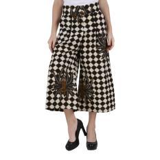 Oktovina-HouseOfBatik Celana Kulot Katun - Monochrome Batik CKKM-2 – Hitam Putih