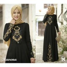 Baju Wanita Shop Dress Gamis Terusan Maxi Ravina / Syari Syar'i Simple Elegant / Baju Muslim Wanita / Kebaya Muslimah Modern (venara) SS - Hitam D2C
