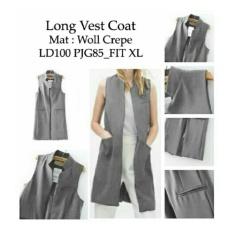 Baju Wanita Shop Rompi Cardigan Long Vest Coat / Cardingan / Rompi Warnita / Carding Girl / Carding Bagus NR - Abu Abu