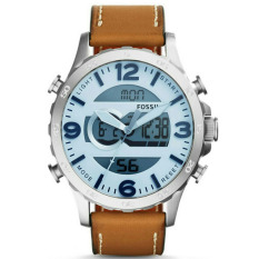 Fossil Dual Time -Jam Tangan Pria - Leather Strap - Light Brown - JR 1492 Light Brown
