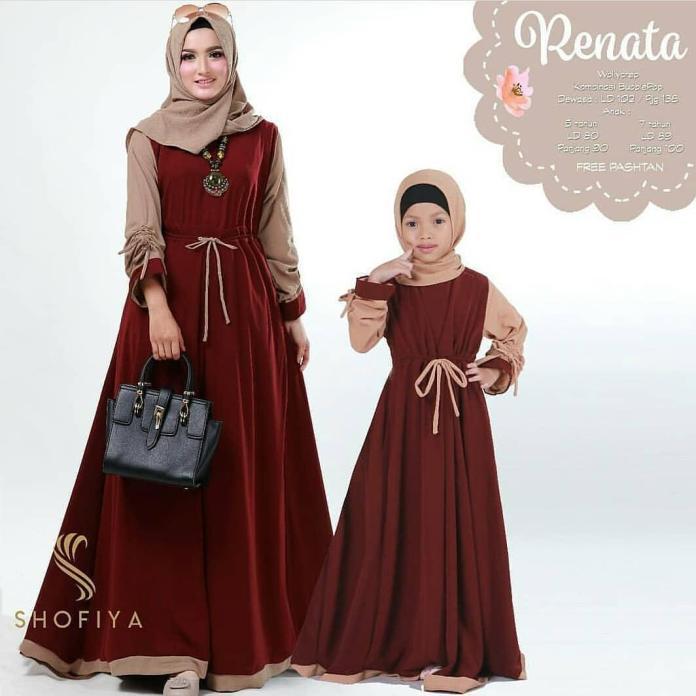 Baju Couple Murah/Renata Couple/Baju Ibu Dan Anak/Gamis Couple Wolly Crepe