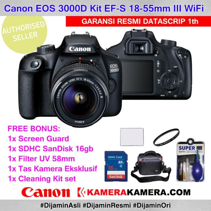 Canon EOS 3000D Kit EF-S 18-55mm III DSLR Camera Canon 3000D - Garansi Resmi Datascrip 1th + Screen Guard LCD + Filter UV 58mm + Memory SDHC SanDisk 16gb + Tas Eksklusif + Cleaning kit set