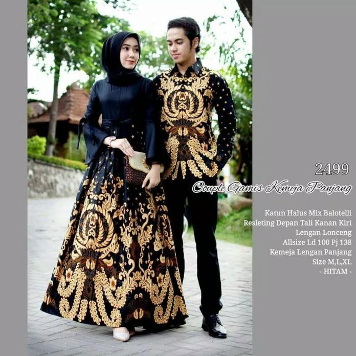 TERMURAH - Batik Couple - Baju Muslim Wanita Terbaru 2018 - Couple Batik - Baju Batik Sarimbit - Baju Batik Modern - Batik Kondangan - Baju Batik Couple Gamis Kemeja Panjang 2499