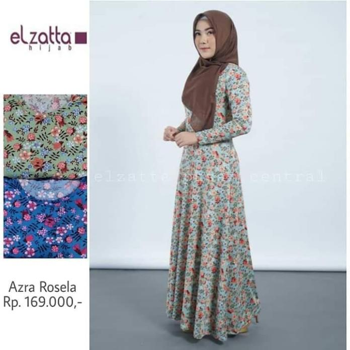 Elzatta-fashion wanita-Gamis azra rosella - Warna biru ukran xxl