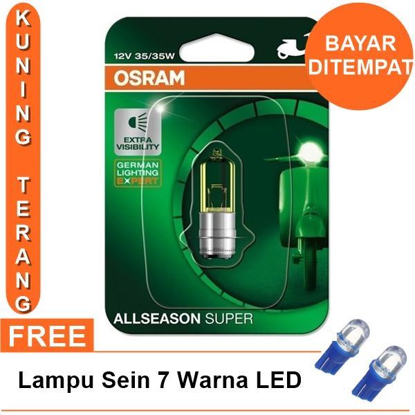 Osram Lampu Depan Motor Honda Vario 110 2006-2013 - 62337ALS All Season Super + Free Lampu Sein LED 7 Warna