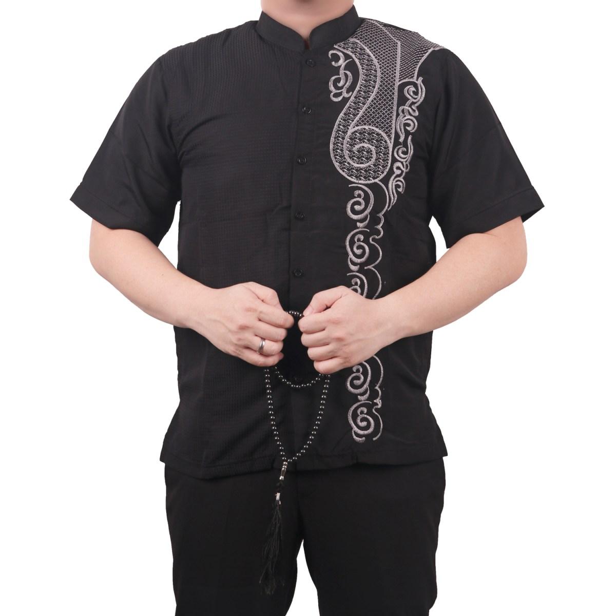 Baju Koko5 Muslim BORDIR Kombinasi Batik 2019 FREE Sandal Jepit Navy L 14
