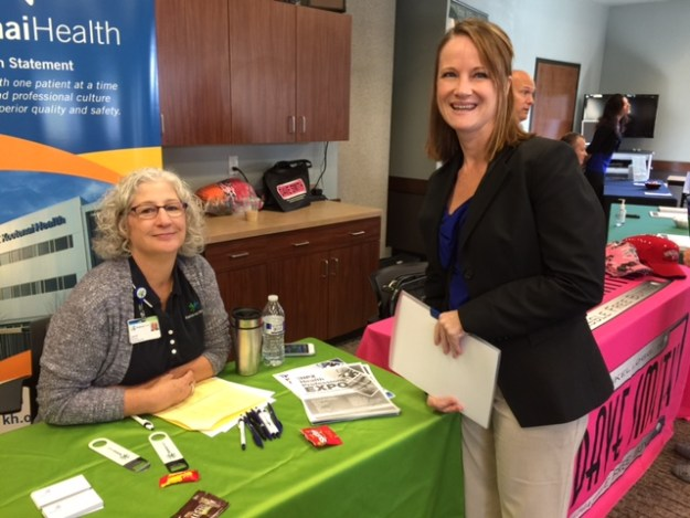 Laurie Nowland, human resource representative for Kootenai Health discussed the company's hiring process with job seeker Rachael Veddar.