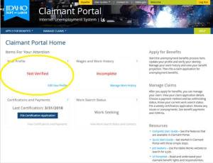 Unemployment insurance Claimant Portal not verified description