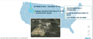 map of United States and a photo of a cobalt mine