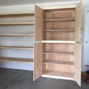 shelves and cupboard with doors open