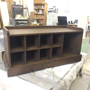 black walnut entry bench front