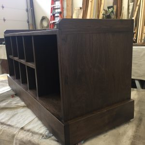 black walnut entry bench side