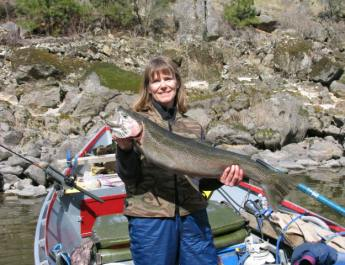 Holly Endersby with a fish, Idaho Senior Independent