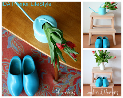 Blue clogs and red flowers