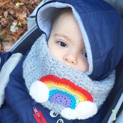 Rainbow baby cowl