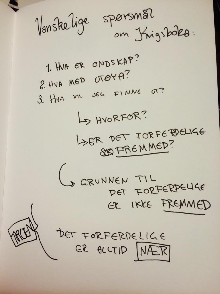 Vanskelige spørsmål om Krigsboka: 1. Hva er ondskap? 2. Hva med Utøya? 3. Hva vil jeg finne ut? Hvorfor? Er det forferdelige fremmed? Det forferdelige er alltid nær.