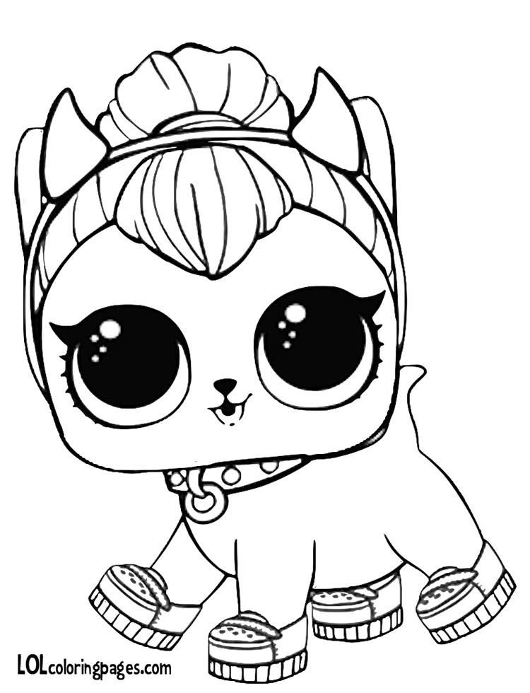 Раскраски ЛОЛ питомцы космическая кошка