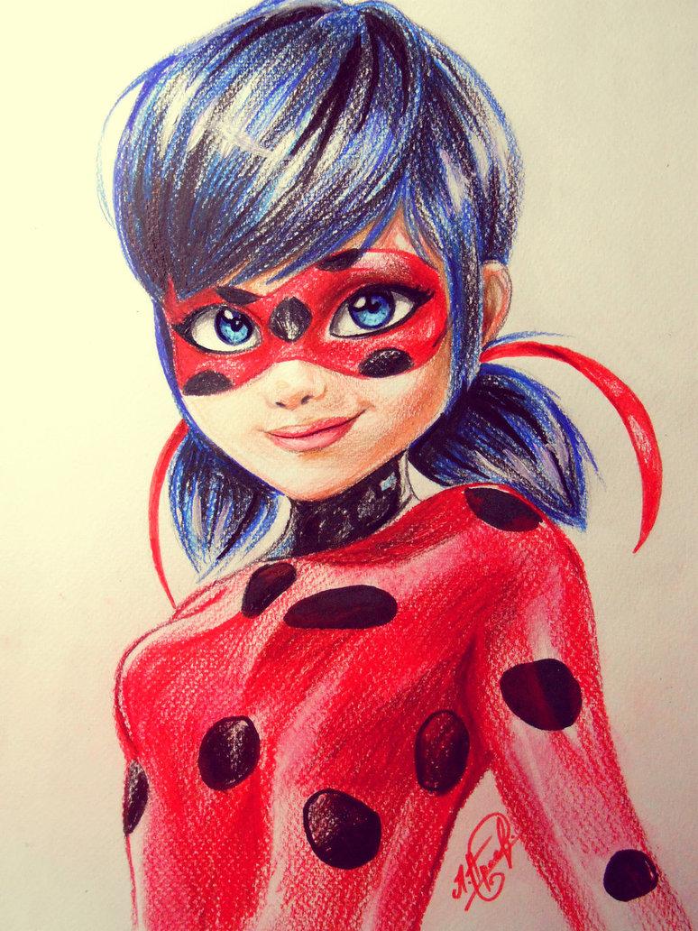 Рисунок Леди Баг Цветнай карандаш