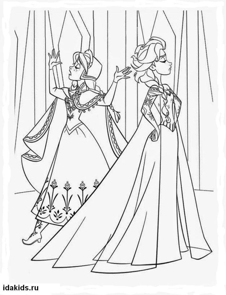 Раскраска Холодное сердце Анна и Эльза ссорятся