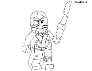 Раскраска Ниндзяго Лего Ллойд зеленый ниндзя