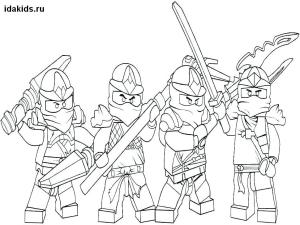 Раскраска Ниндзяго Лего Все герои бесплатно