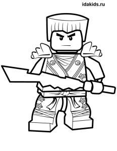 Раскраска Ниндзяго Лего Зейн белый ниндзя