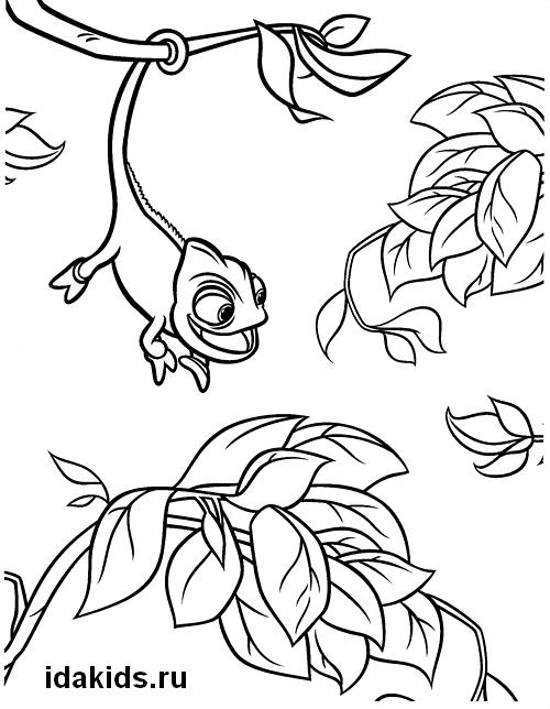 Раскраска Рапунцель хамелеон Паскаль качается на ветке