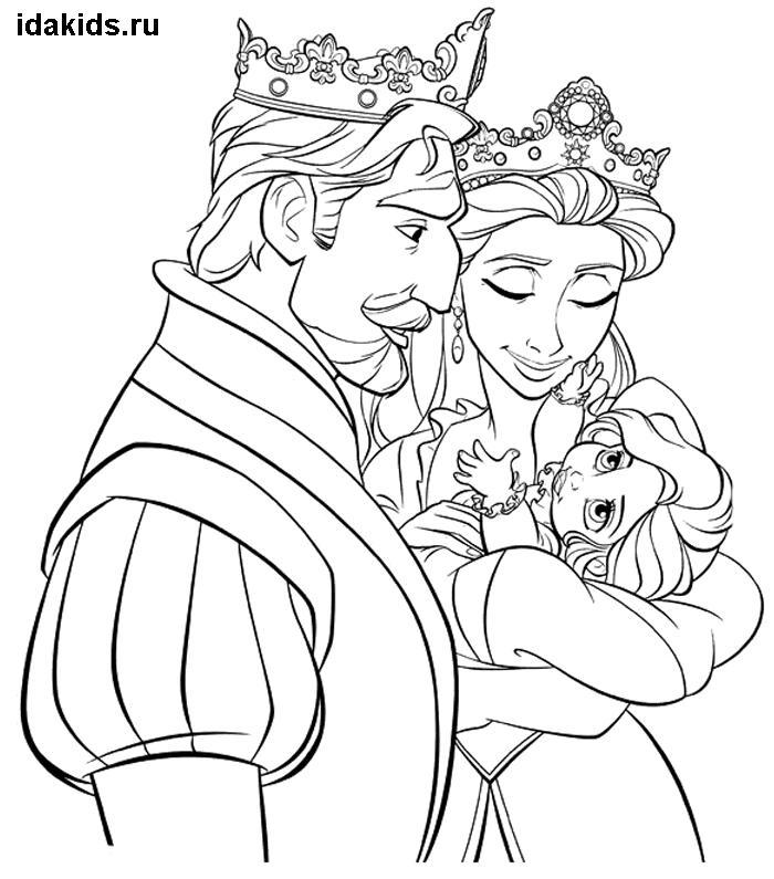 Раскраска Рапунцель маленькая с родителями