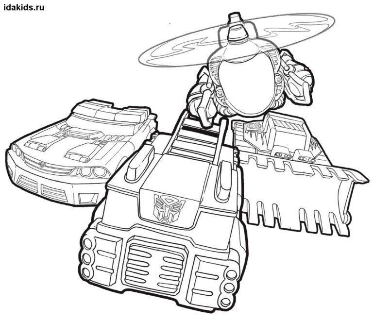 Раскраска Трансформеры герои Боты-спасатели