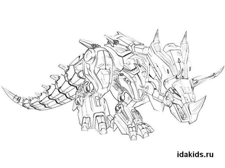 Раскраска Диноботы Трансформеры