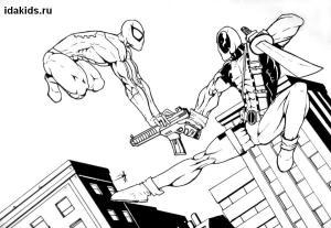 Раскраски Человек паук и Дэдпул