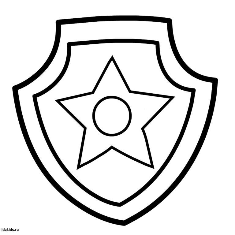 Раскраска Щенячий Патруль значок Гонщика