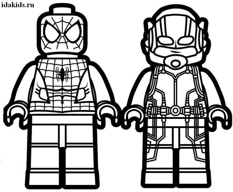 Раскраски Человек Муравей Лего и Спайдермен