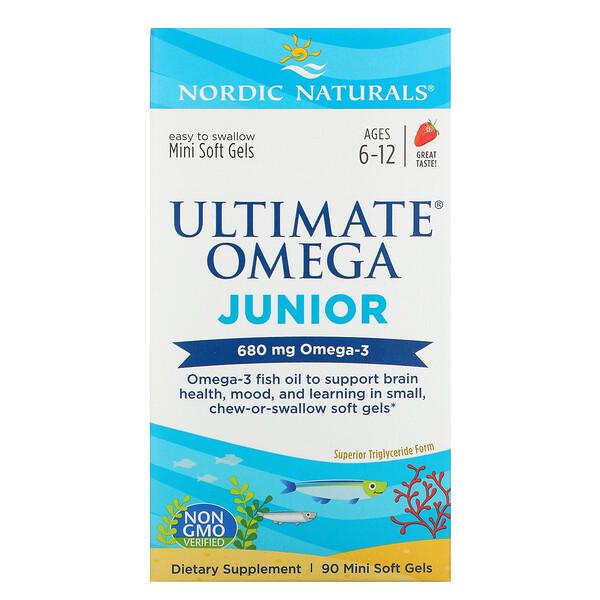 Желатиновые мини-капсулы Nordic Naturals, Ultimate Omega, Junior
