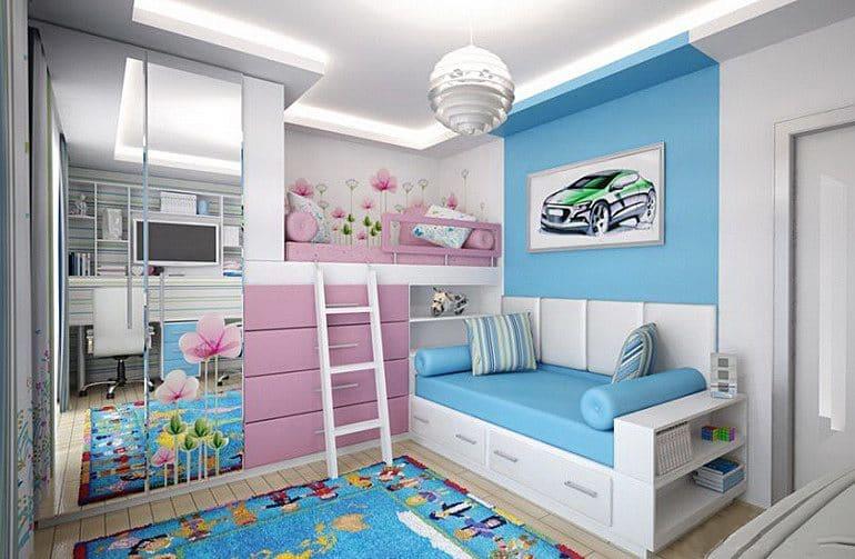 Дизайн детской комнаты для двоих разнополых