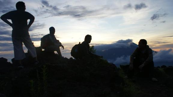 Me and my friends at the top of Mount Batur