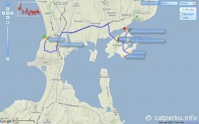 Map towards Serangan Island, with starting point Discovery Plaza, Kuta, Bali