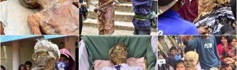 Sequence of a family in Tana Toraja cleaning and dressing the mummy of their grandfather, Ma'Nene ritual.