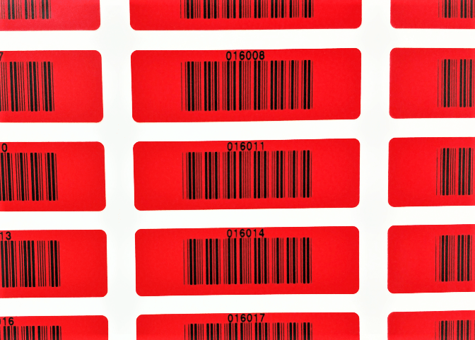Red Masked Barcode Labels