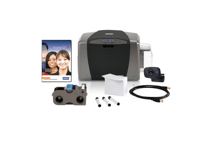 Bundle - Fargo DTC1250e SS ID Card Printer w Ribbon, Cards, Rollers