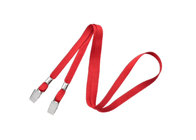 "Non-Breakaway 3/8"" Flat Lanyard with 2 Bulldog Clips Bright Red"