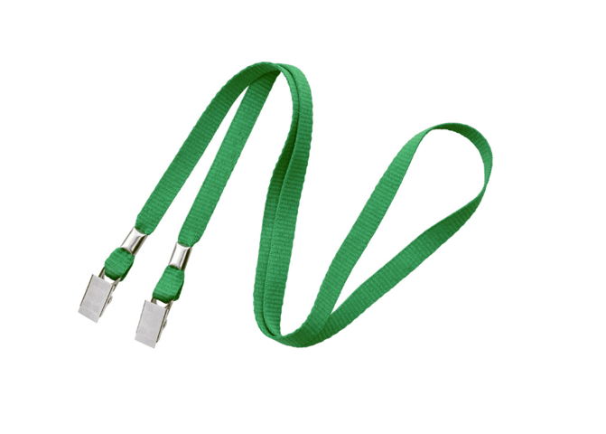 "Non-Breakaway 3/8"" Flat Lanyard with 2 Bulldog Clips Green"