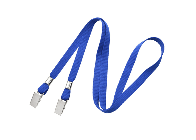"Non-Breakaway 3/8"" Flat Lanyard with 2 Bulldog Clips Royal Blue"