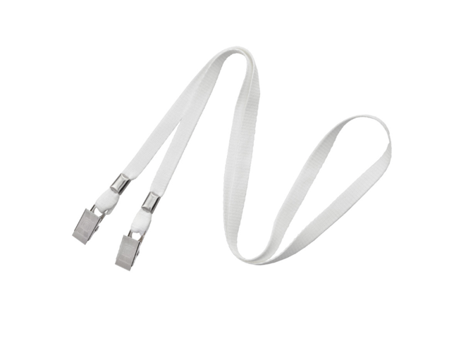"Non-Breakaway 3/8"" Flat Lanyard with 2 Bulldog Clips White"